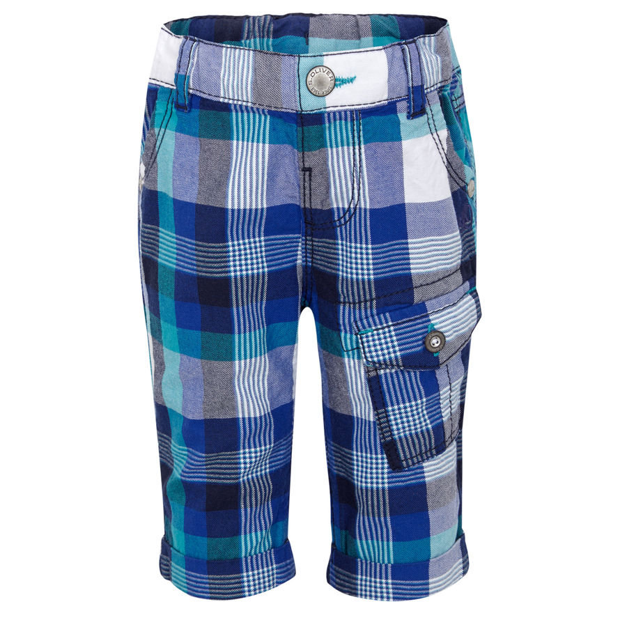 s.OLIVER Boys Mini Pantaloni 7/8 blue check