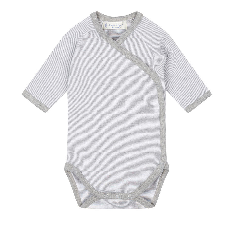 SENSE ORGANICS Baby Body dziecięce YGON pinny stripes grey marl