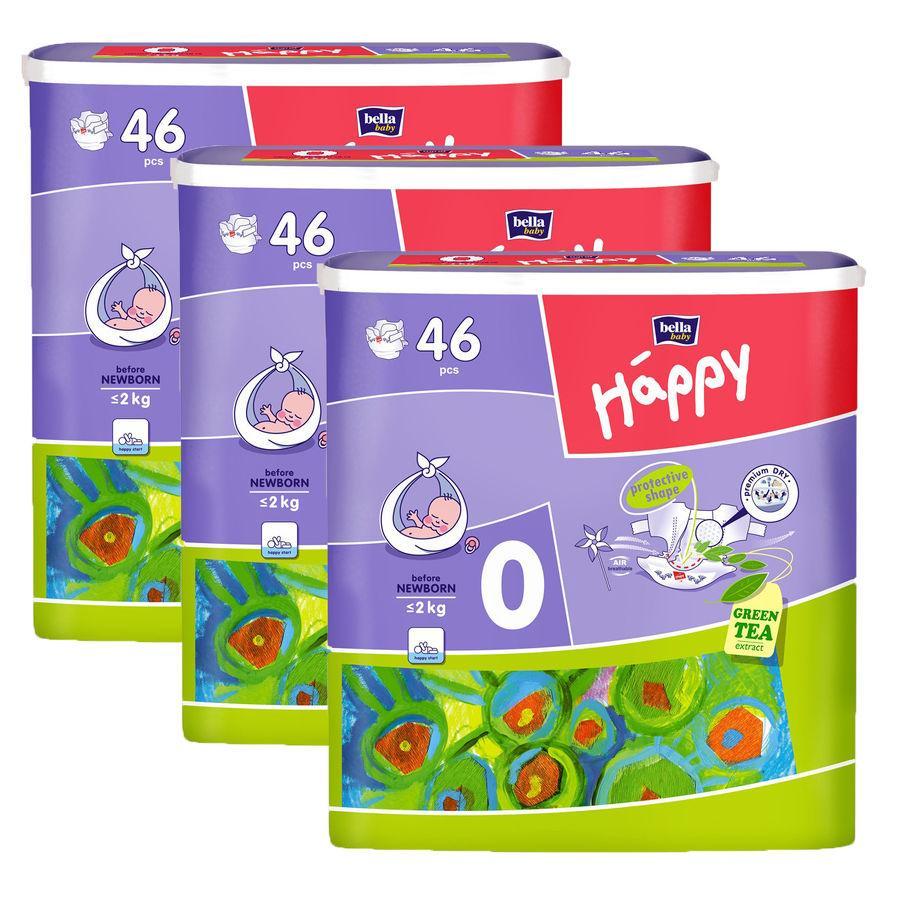 BELLA Happy Pannolini Before Newborn Misura 0 (<2kg) 46 pezzi x 3