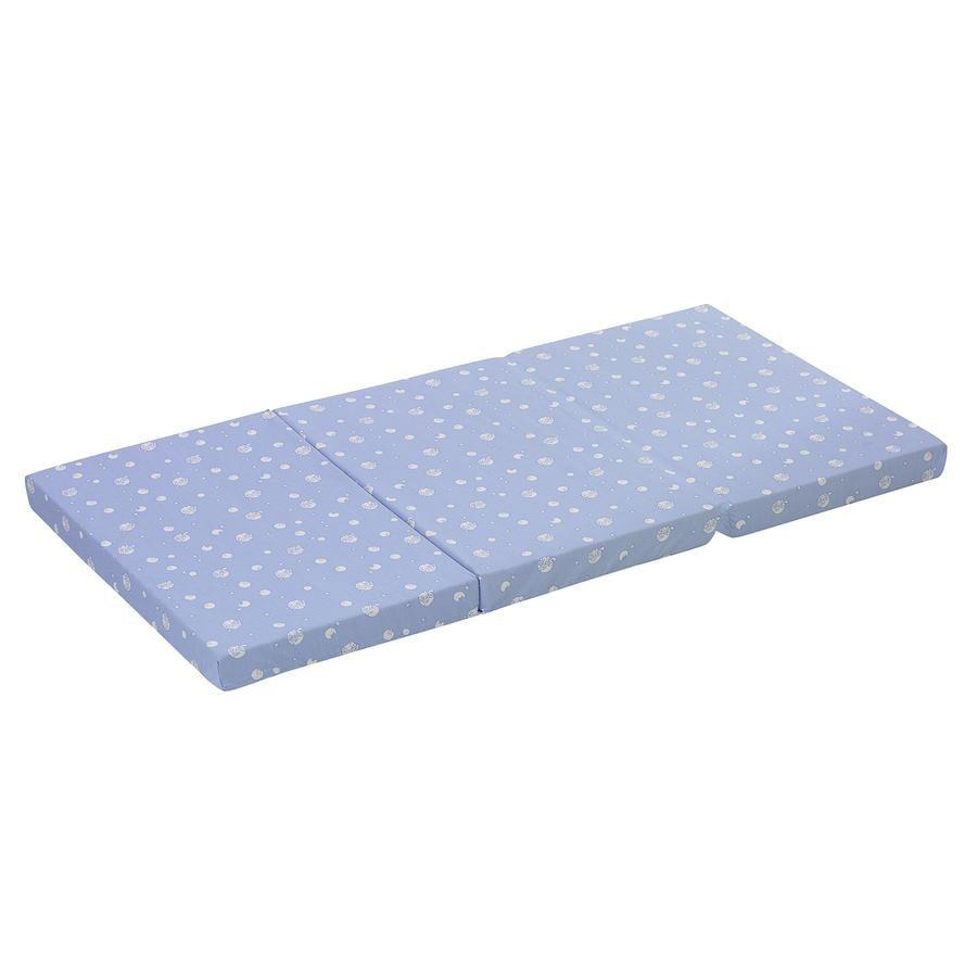 ALVI Matelas de lit parapluie, bleu avec motif exclusif d'ALVI