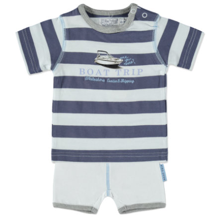 Dirkje Boys Set 2-tlg. steelblue stripe/white