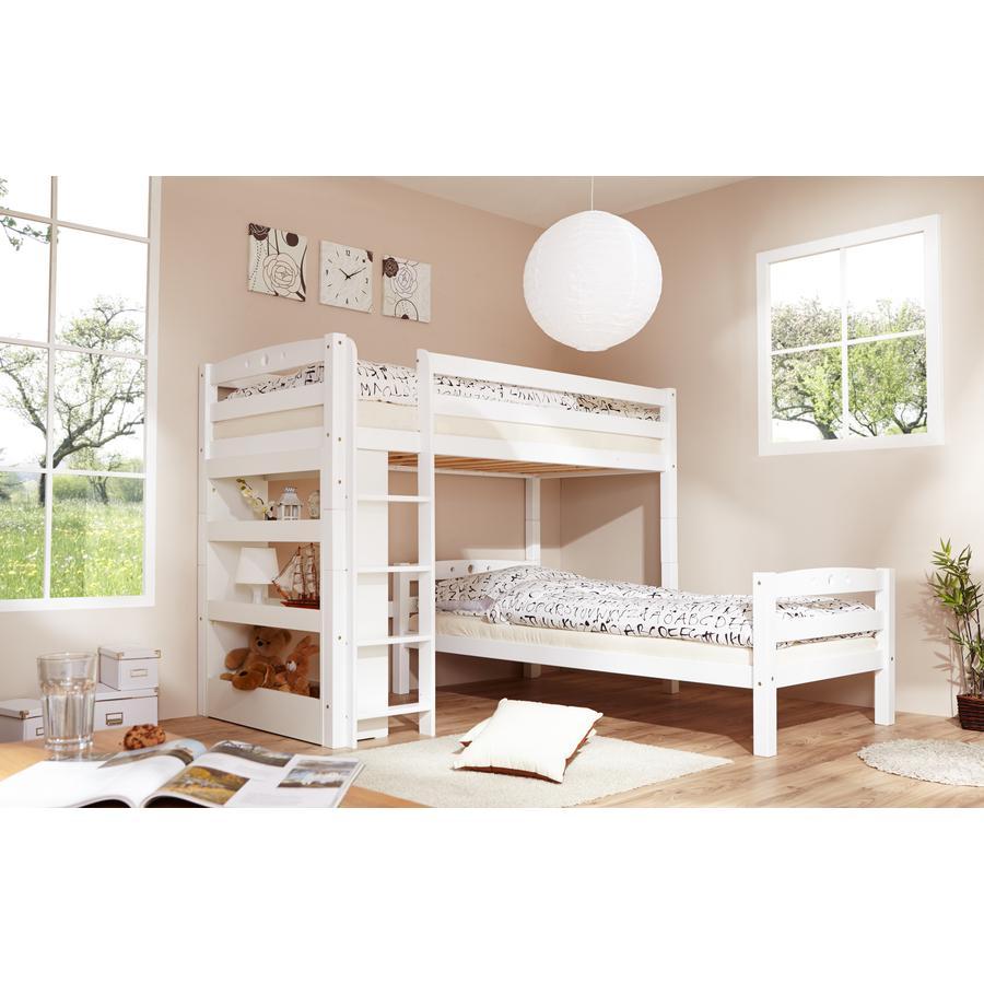 TiCAA Lit mezzanine enfant Lupo hêtre massif, blanc 90x200 cm