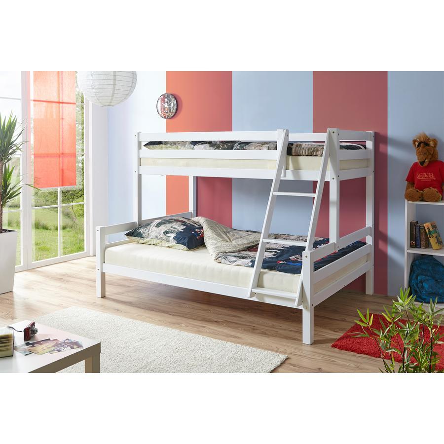 TiCAA Dvouposchoďová postel Maxim masivní buk bílá
