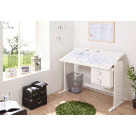 TiCAA Bureau fonctionnel, pin massif, blanc