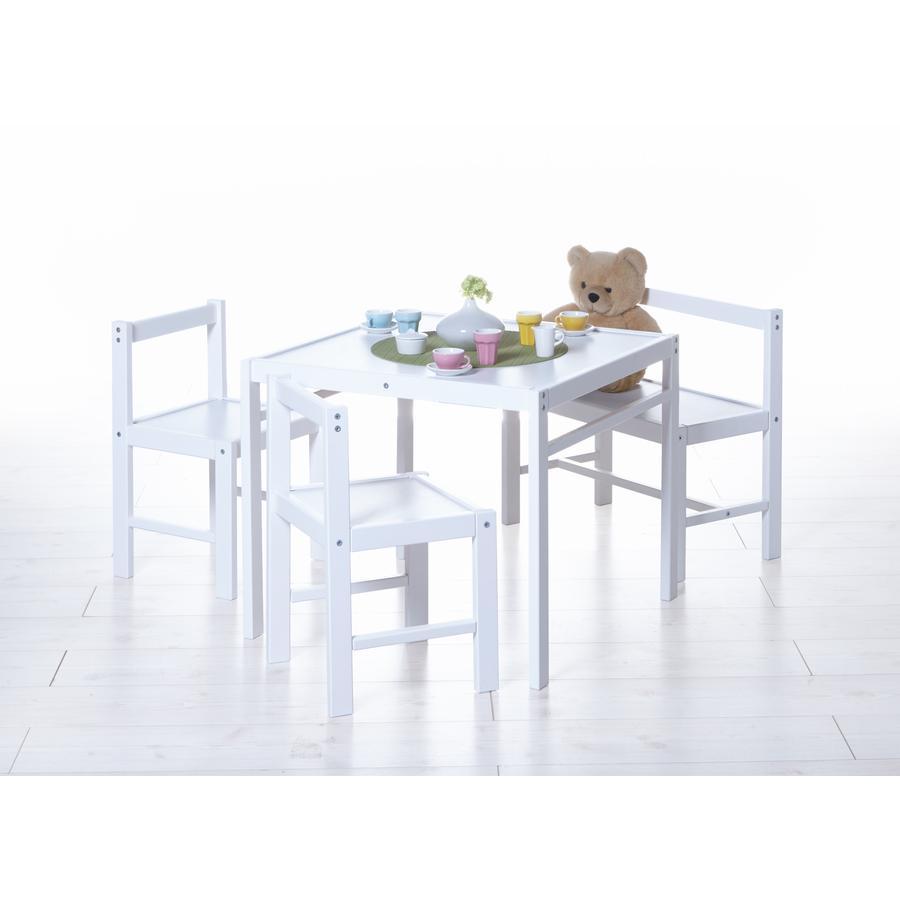 TiCAA Kindertafel wit, 4-delig