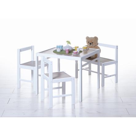 TiCAA Kinder Tischgruppe sonoma-weiß, 4-teilig