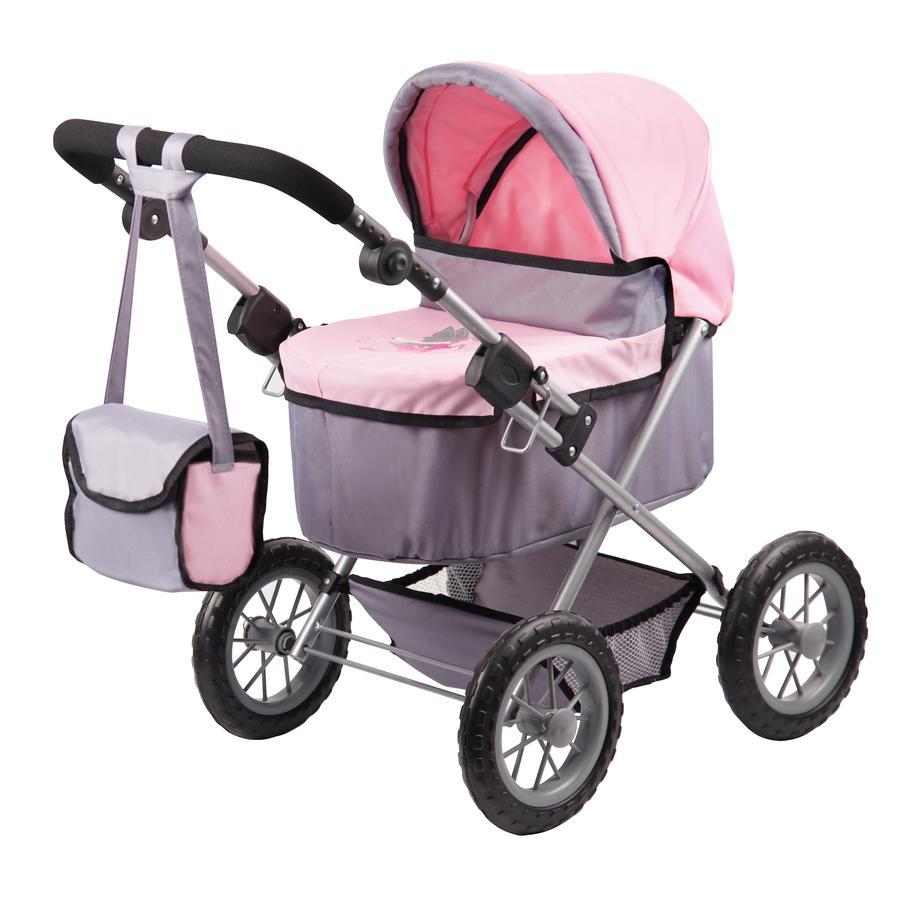 BAYER DESIGN Kočárek pro panenky Trendy, šedý/růžový 1300800