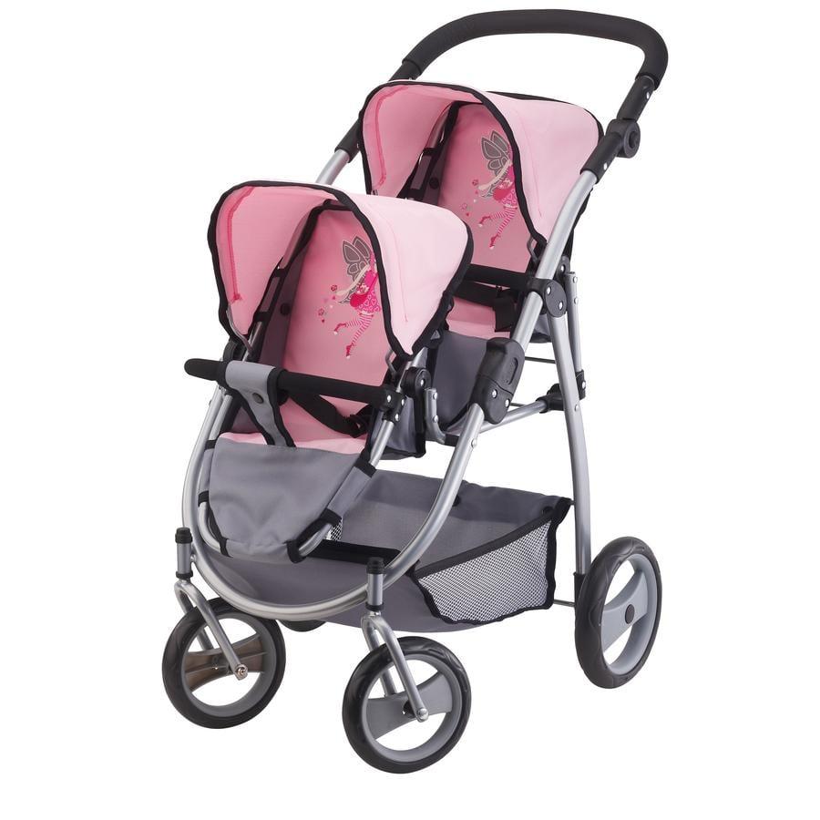 BAYER DESIGN Tvillingvagn dockvagn rosa/grå 2650800