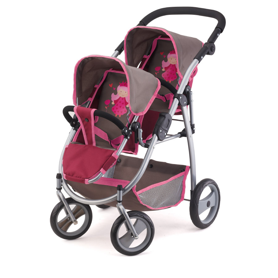 Bayer Design Wózek podwójny dla lelek kolor borodowo-szary 2657800