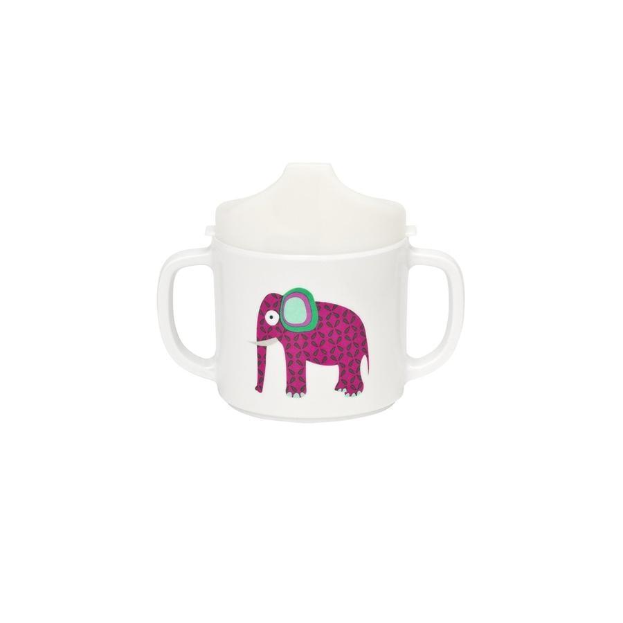 LÄSSIG Melamin Tasse mit Silikonring Wildlife Elephant weiß