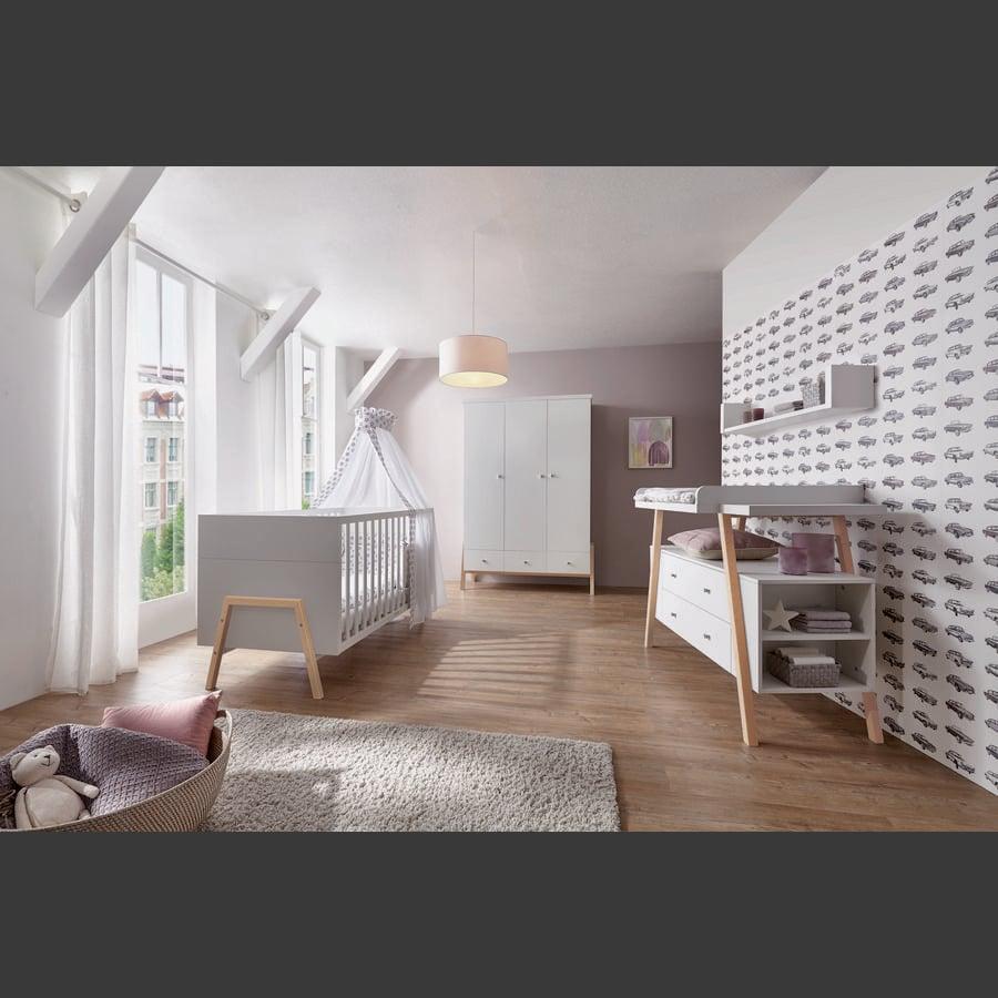 SCHARDT Set cameretta neonato HOLLY NATURE bianco / legno (armadio a 3 ante)