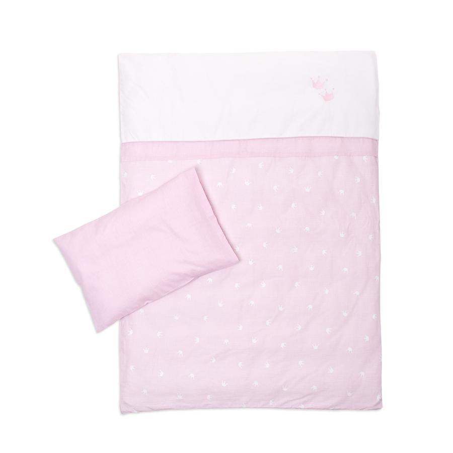 Träumeland Bettwäsche 2tlg. Krone rosa 80x80cm