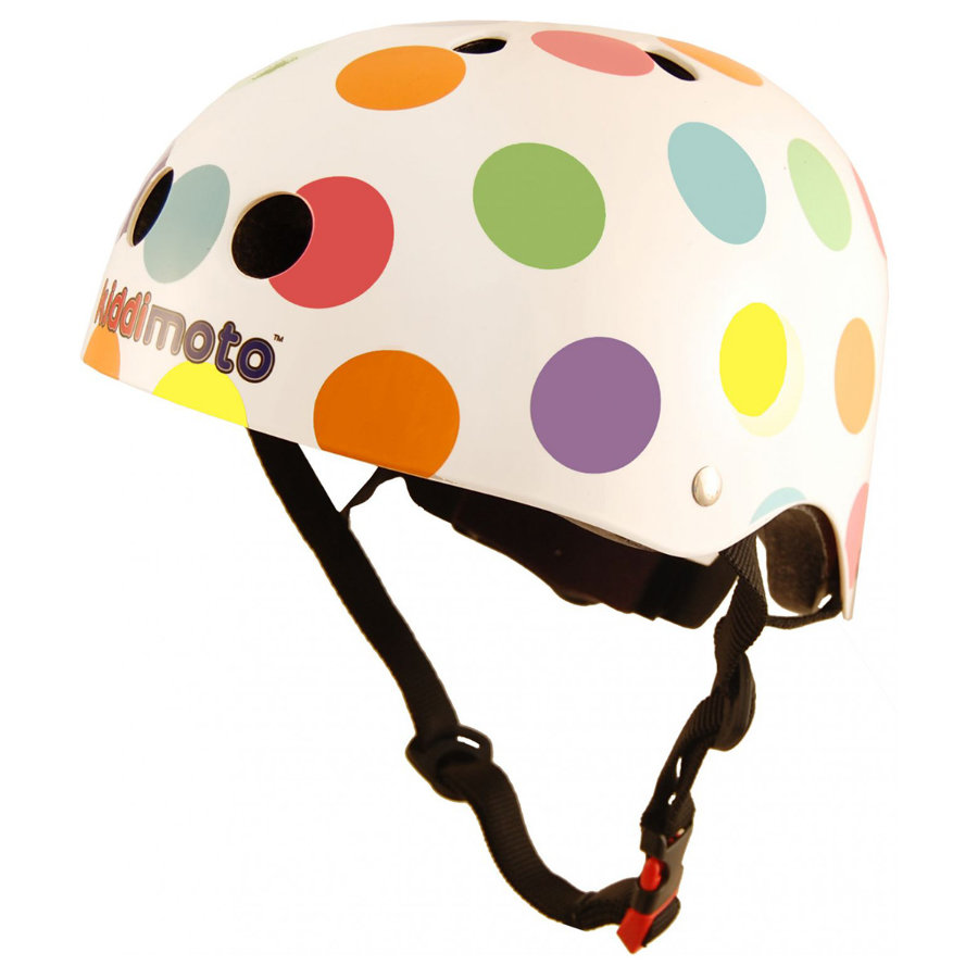 kiddimoto® Casque vélo enfant Design Sport, Pois, multicolore - T. S, 48-53 cm