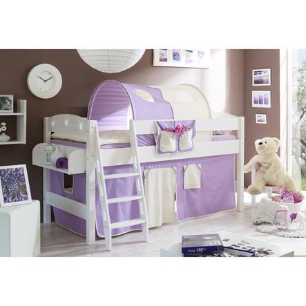 TICAA Patrová postel KENNY borovice bílá - fialovo/béžová