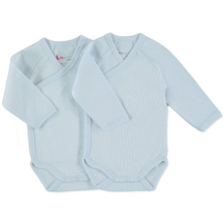 pink or blue Boys Newborn Wickelbody 1/1 Arm 2er Pack hellblau, geringelt