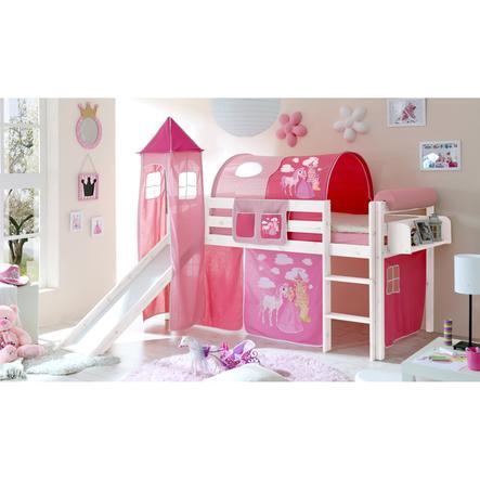 TICAA Patrová postel se skluzavkou a věží KASPER borovice bílá Horse pink