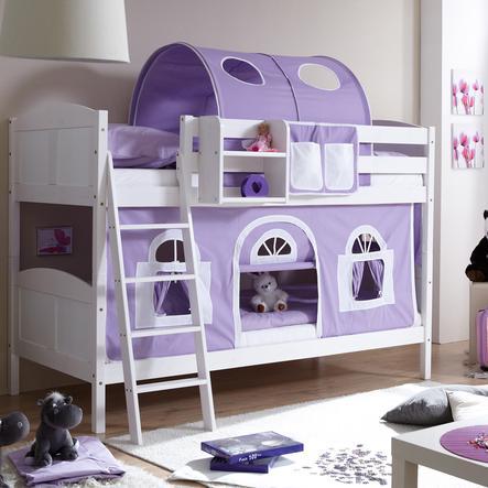 TICAA Łóżko piętrowe Erni Country Dworek białe drewno sosnowe kolor fioletowo-biały