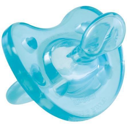CHICCO Dudlík Physio Soft, silikon 4m+, modrý s kroužkem BPA-neobsahuje