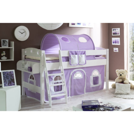 TiCAA Lit mezzanine enfant Kenny R blanc - violet/blanc 90x200 cm