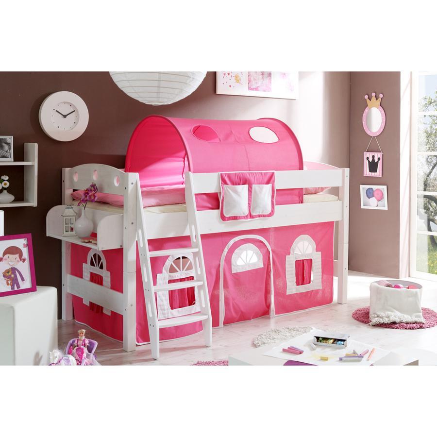 TiCAA Lit mezzanine enfant Kenny R blanc - rose/blanc 90x200 cm