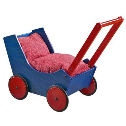 HABA Puppenwagen 1625 Buchenholz blau/rot