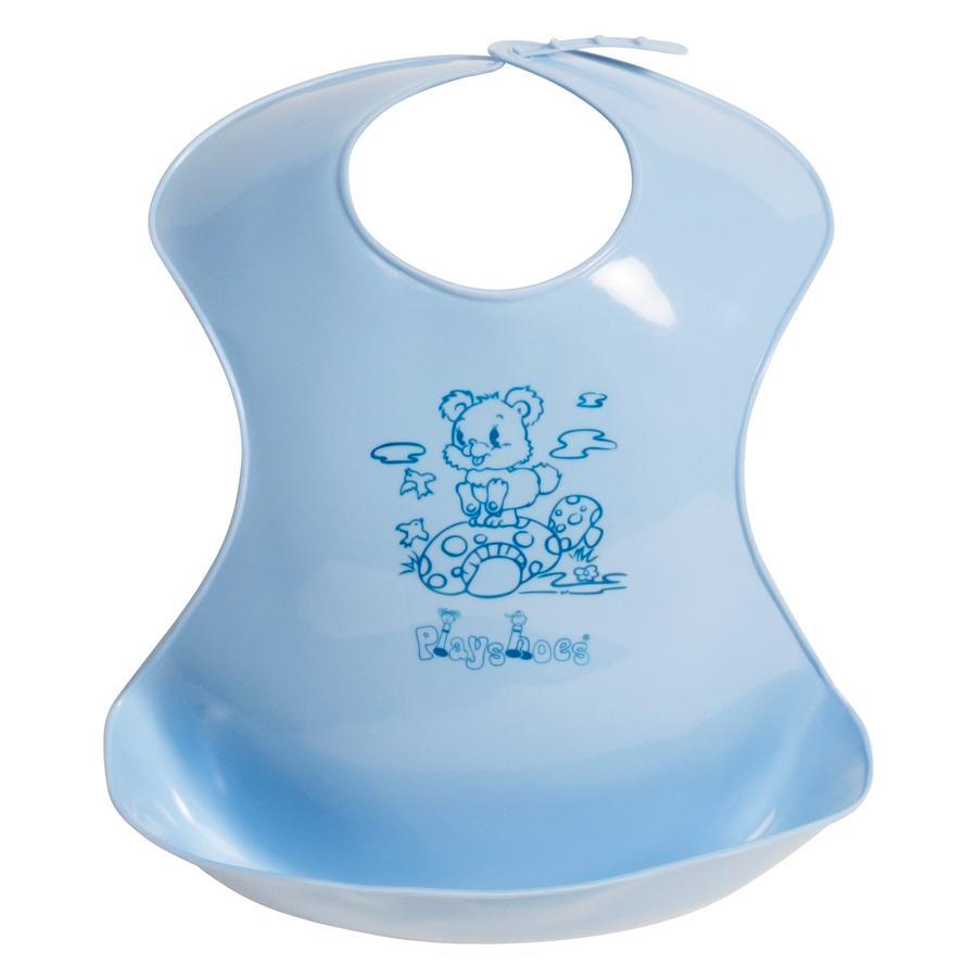PLAYSHOES Bavaglino morbido in plastica con taschina, azzurro