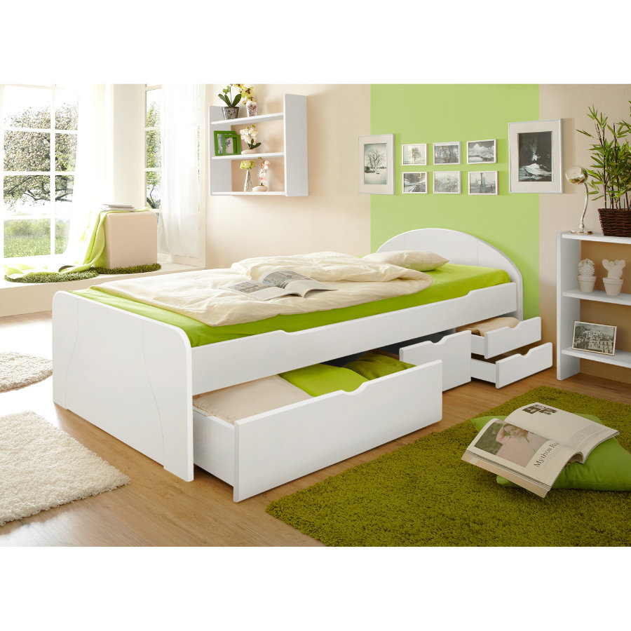 TiCAA Lit à tiroirs Erna pin blanc, 90 x 200 cm