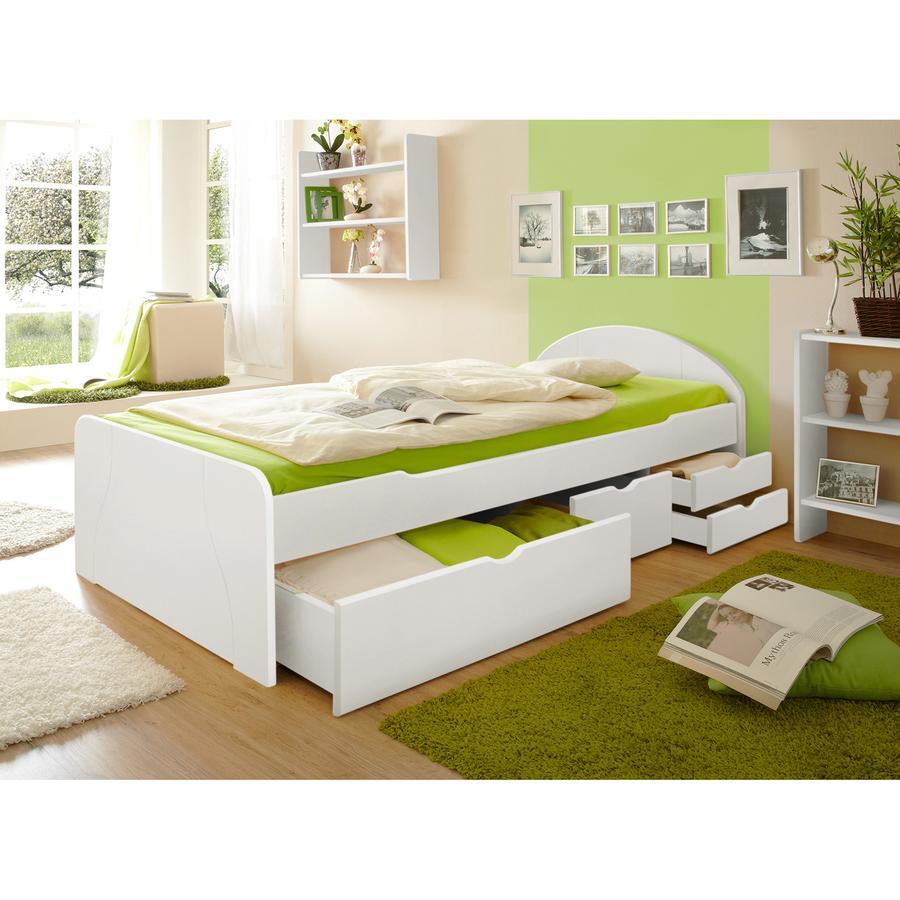 TICAA Lit à tiroirs Erna, pin, 100 x 200 cm, blanc