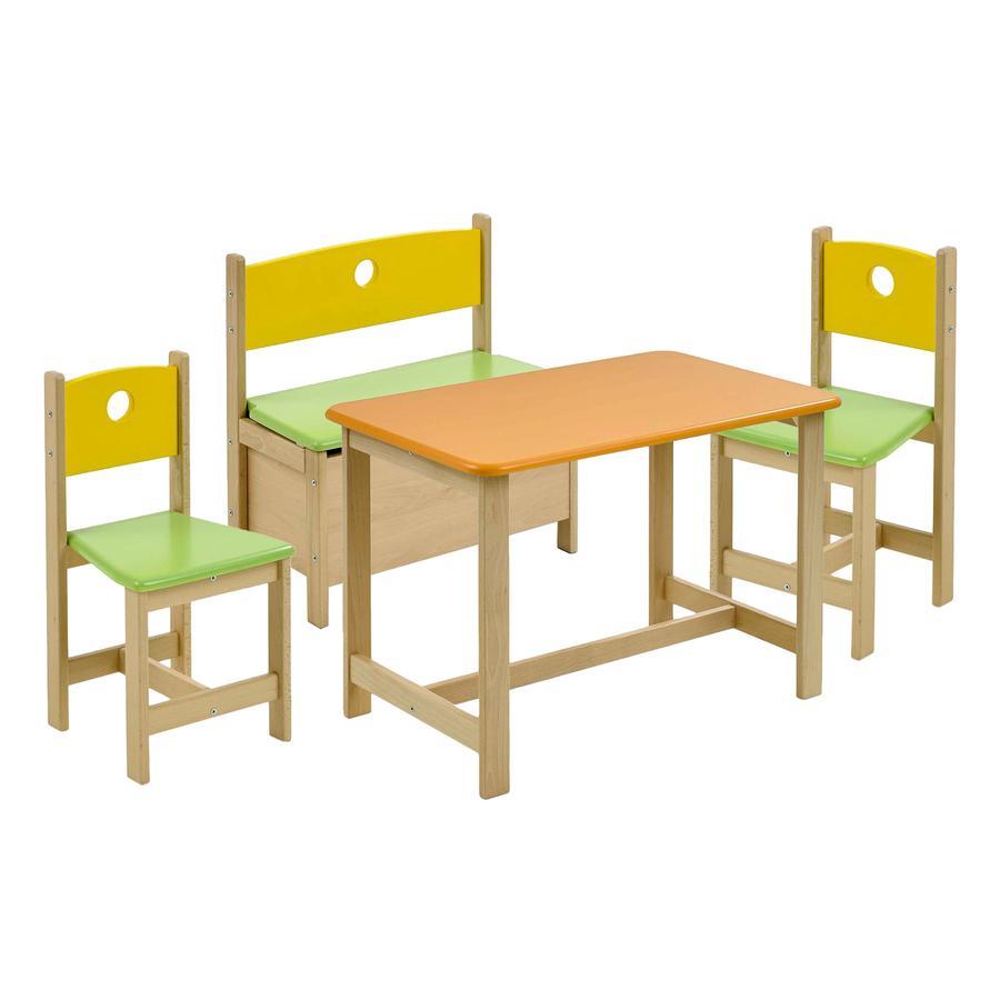 Geuther Kindertafel en stoelen Pepino - geel/groen/oranje