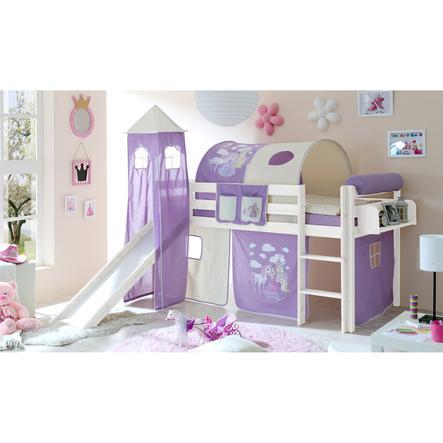 TiCAA Lit toboggan mezzanine enfant Kasper pin blanc Horse violet, tour 90x200 cm