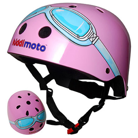 kiddimoto® Casco da bicicletta Design Sport, Pink Goggle/Pilota rosa - Misura M, 53-58 cm