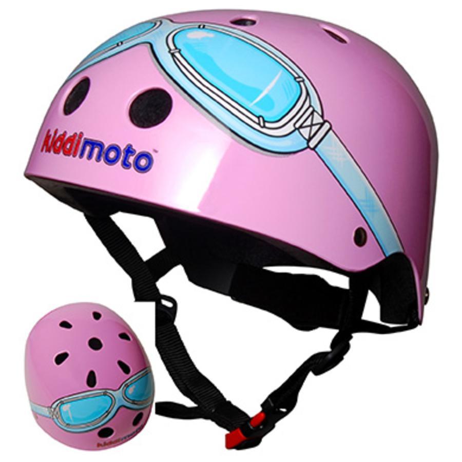 kiddimoto® Casque de vélo enfant Design Sport, Pink Goggle/Pilote rose, T. M, 53-58 cm