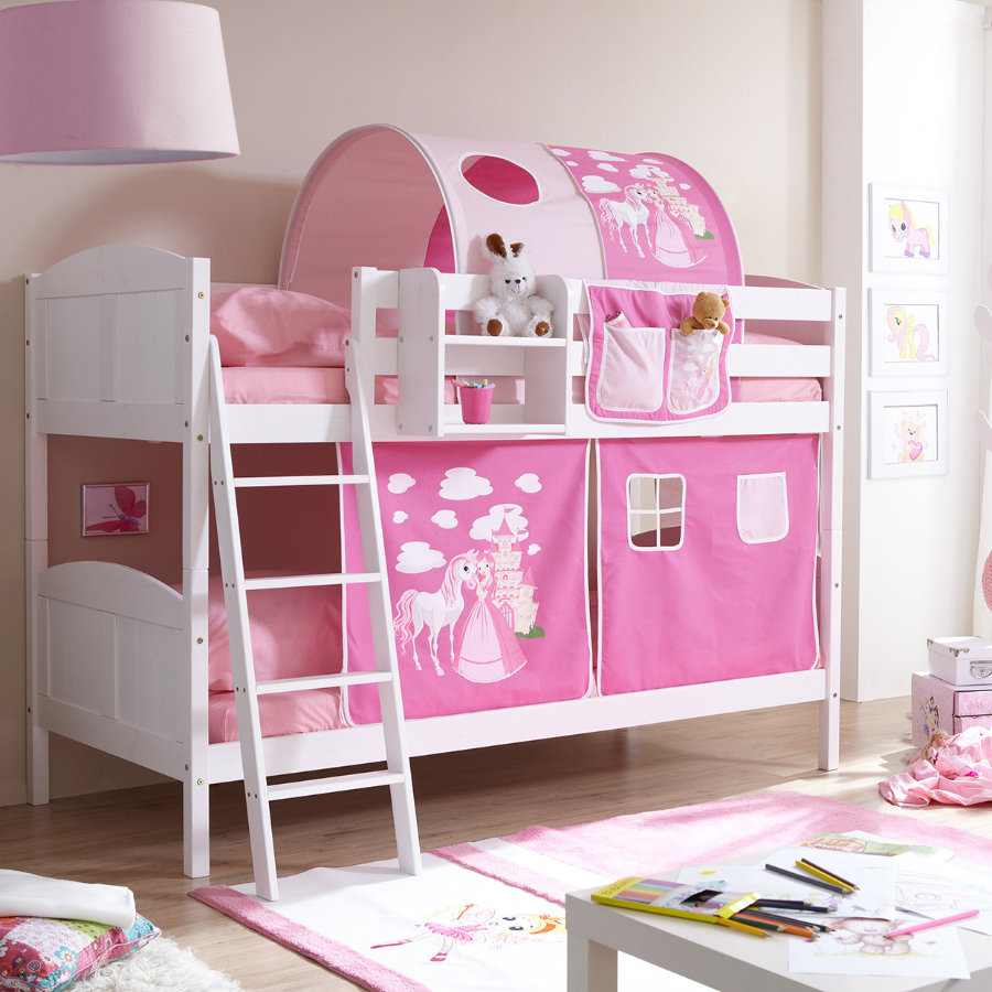 TICAA Stapelbed ERNI massief hout grenen, wit, country - Horse roze pink - zonder tunnel