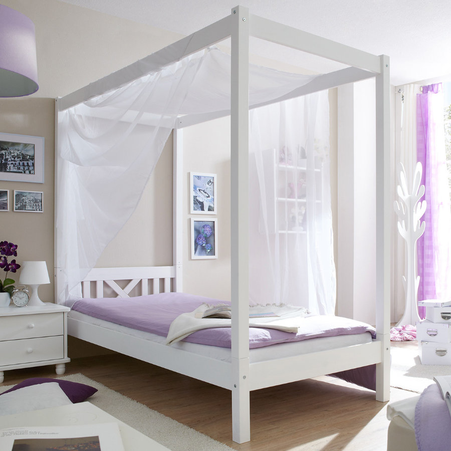 TiCAA Hemel-/eenpersoons bed LaLuna, wit