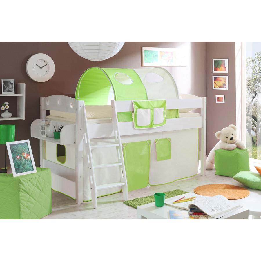 TiCAA Patrová postel Kenny R bílá, béžovo-zelená