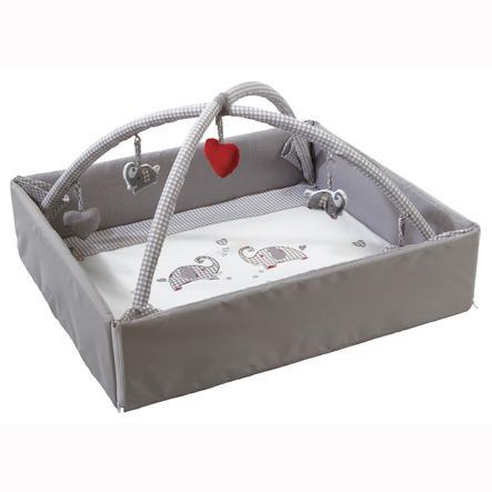 ROBA Babynest Jumbotrwins grau weiß mit Spielbogen 125x115 cm