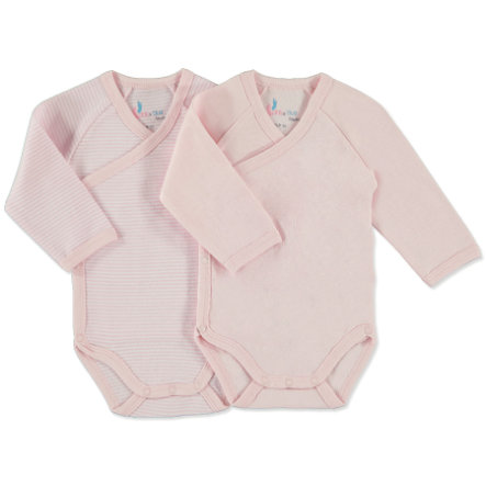 pink or blue Girls Newborn Wickelbody 1/1 Arm 2er Pack rosa, geringelt