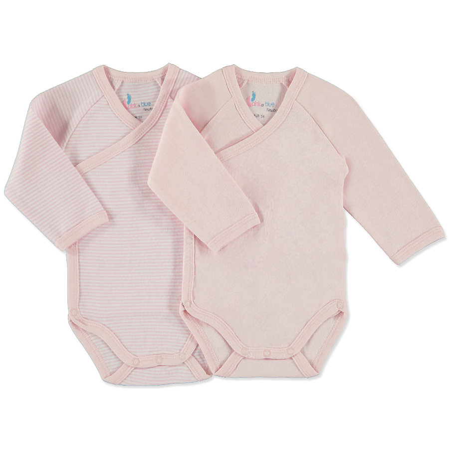 Dívčí zavinovací body pink or blue,  dlouhý rukáv, 2 dílná souprava, růžovo-bílá