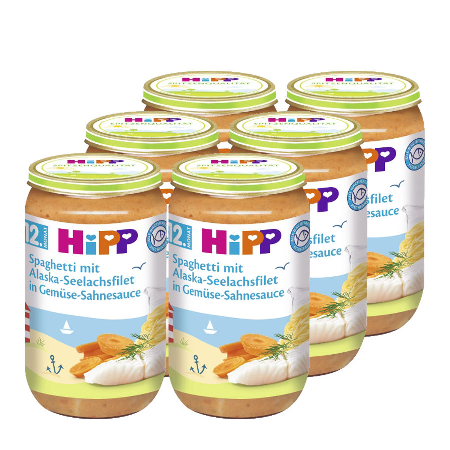 HiPP Spaghetti mit Alaska-Seelachsfilet in Gemüse-Sahnesauce 6 x 250 g