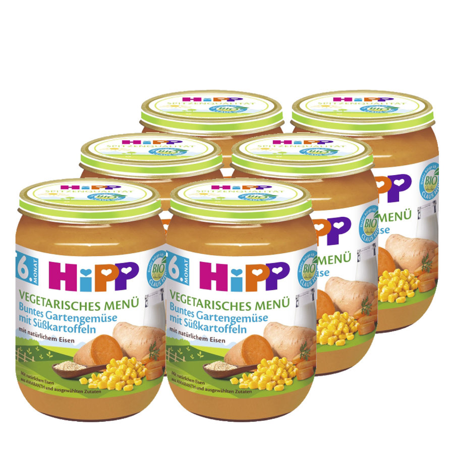 HiPP Buntes Gartengemüse mit Süßkartoffeln 6 x 190 g
