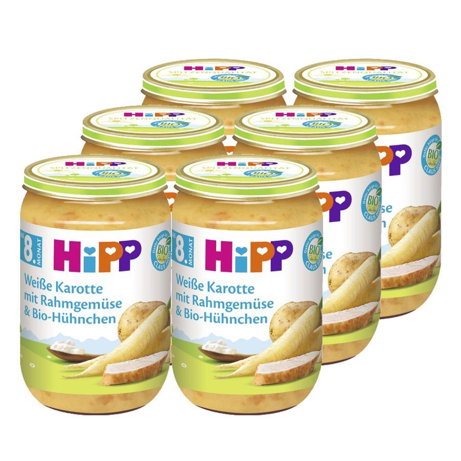 HiPP weiße Karotte mit Rahmgemüse und Bio-Hühnchen 6x220g