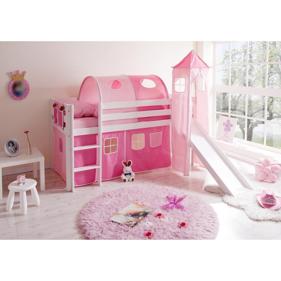 TICAA Halfhoogslaper KASPER  met glijbaan en toren, massief hout grenen, wit classic - roze pink - zonder tunnel