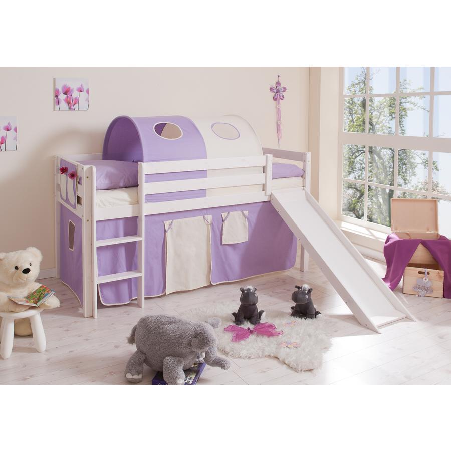 TICAA patrová postel se skluzavkou béžová/fialová