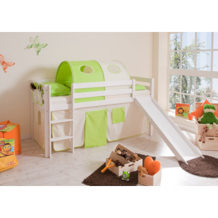 TiCAA Lit toboggan mezzanine enfant Manuel pin blanc beige/vert 90x200 cm