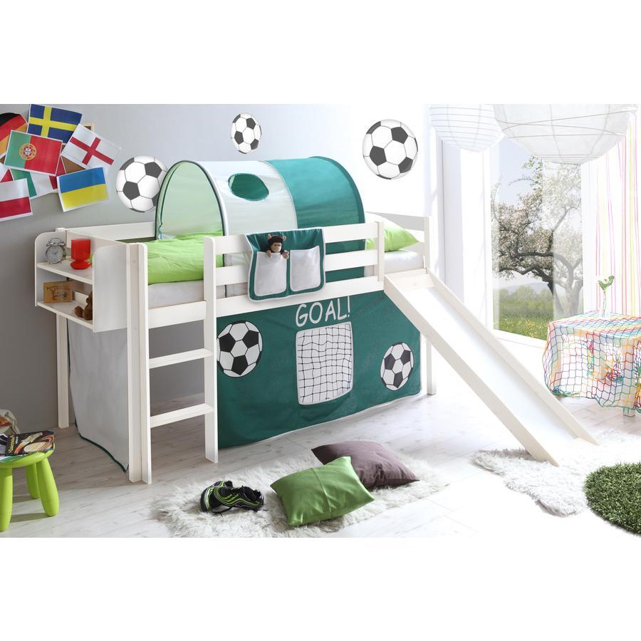 TICAA Patrová postel se skluzavkou GOAL borovice bílá - zelená bílá