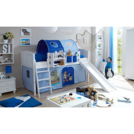TICAA Patrová postel se skluzavkou EKKI borovice bílá Country - pirát světle modro-tmavě modrá