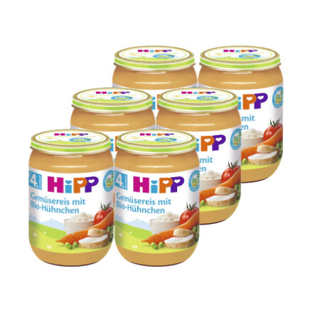 HIPP Bio Vegetable Rice with Organic Chicken, pack of 6 (6 x 190g)