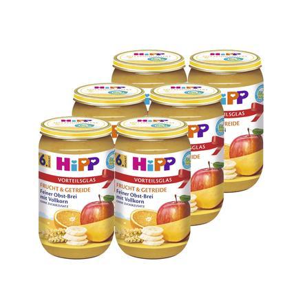 HIPP Bio Frucht & Getreide Feiner Obst-Brei 6x250g