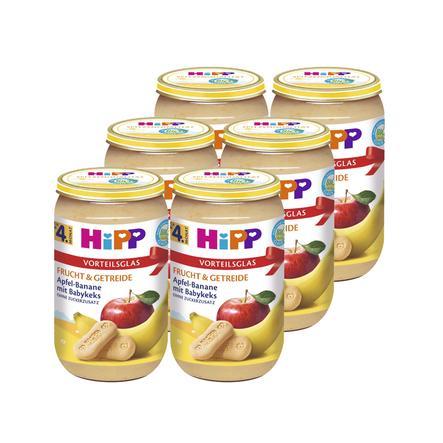 HiPP Bio Frucht & Getreide Apfel Banane mit Babykeks 6 x 250 g