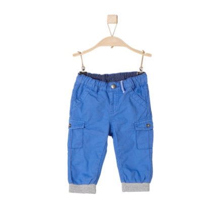 s.Oliver Pantalon en coton avec poignets bleu moyen